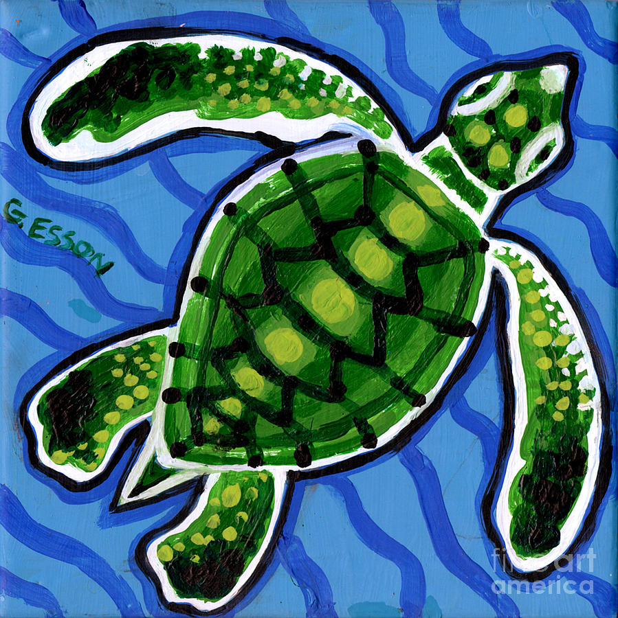 Sea Turtle Painting - Baby Green Sea Turtle by Genevieve Esson