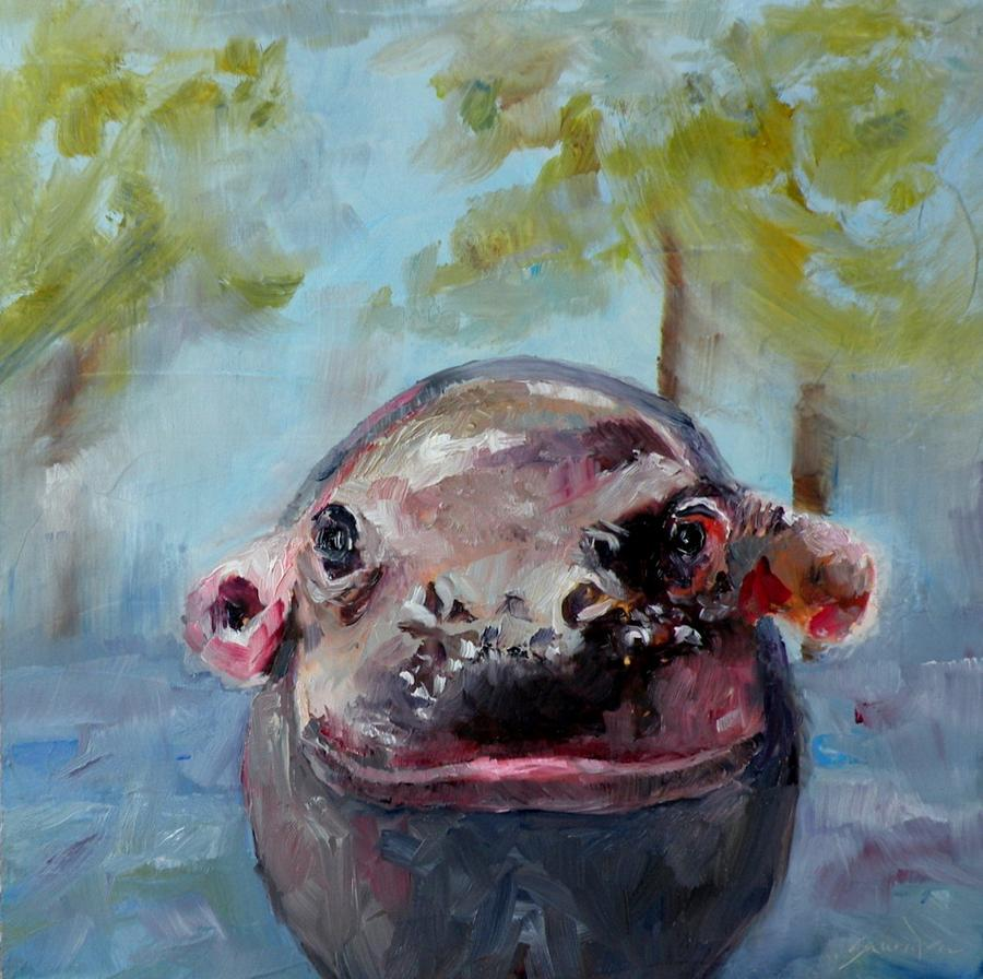 Baby Hippo 2 Painting By Saundra Lane Galloway
