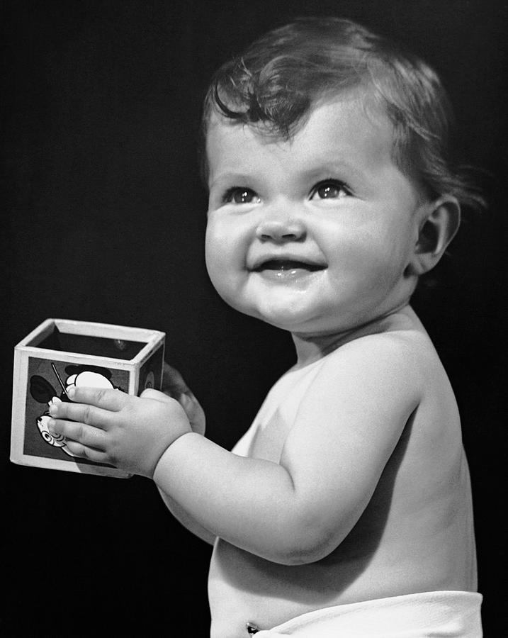 Baby Photograph - Baby Holding Block by George Marks
