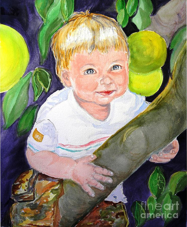 Baby Boy Painting - Baby In The Tree by Susan  Clark
