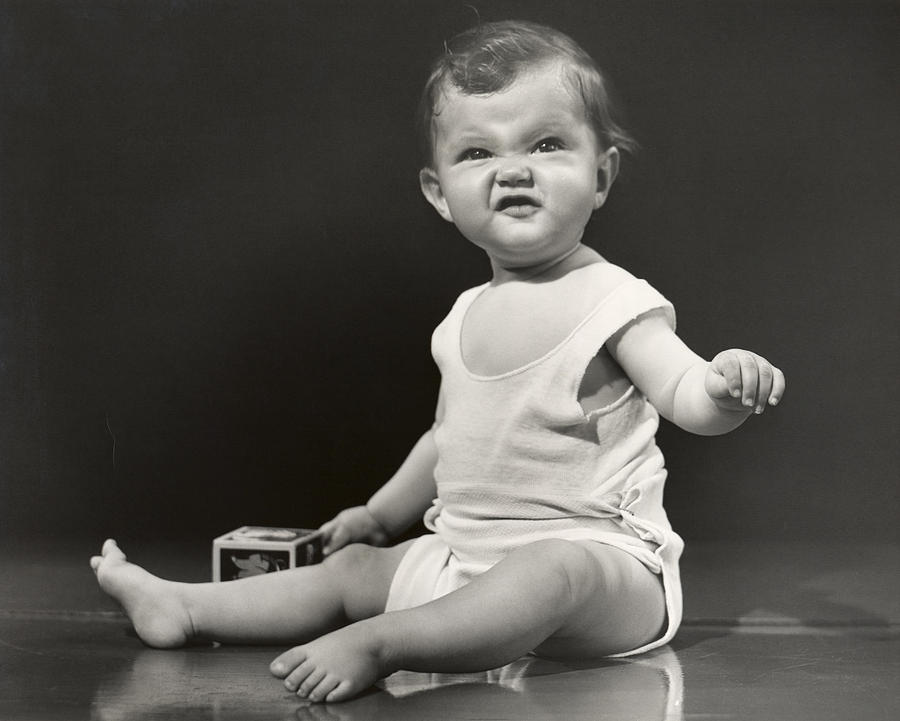 Horizontal Photograph - Baby Making Funny Face by George Marks