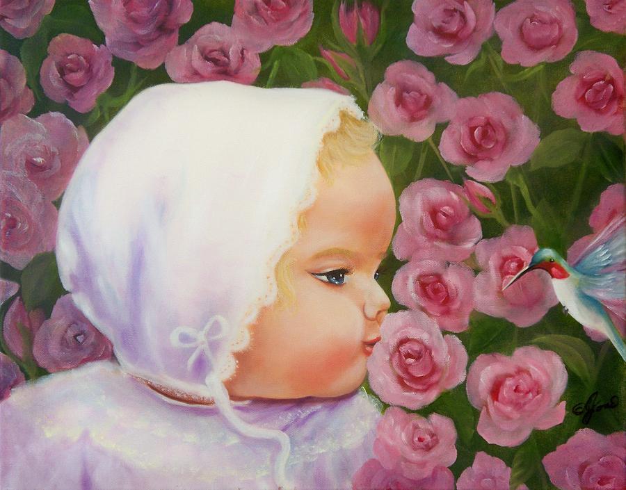 Baby Painting - Baby Meets Hummingbird by Joni McPherson