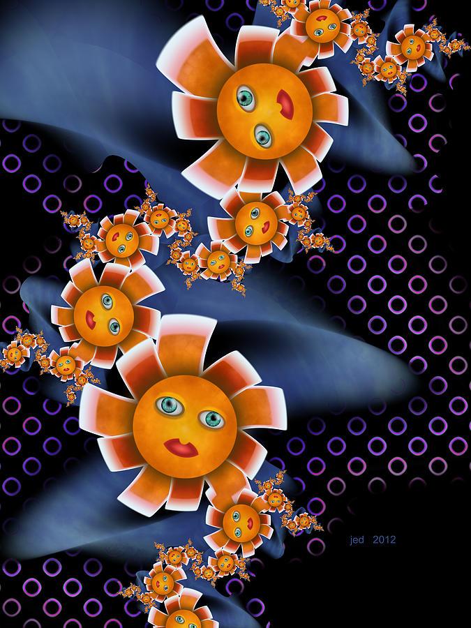 Fractal Digital Art - Baby Orange Flowers by Josette Dery