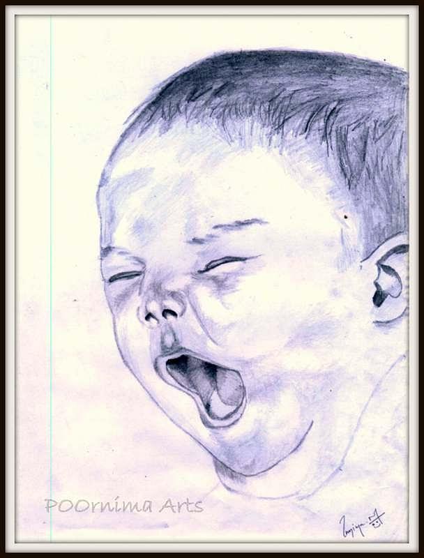 Baby Drawing - Baby-yawning by Poornima M