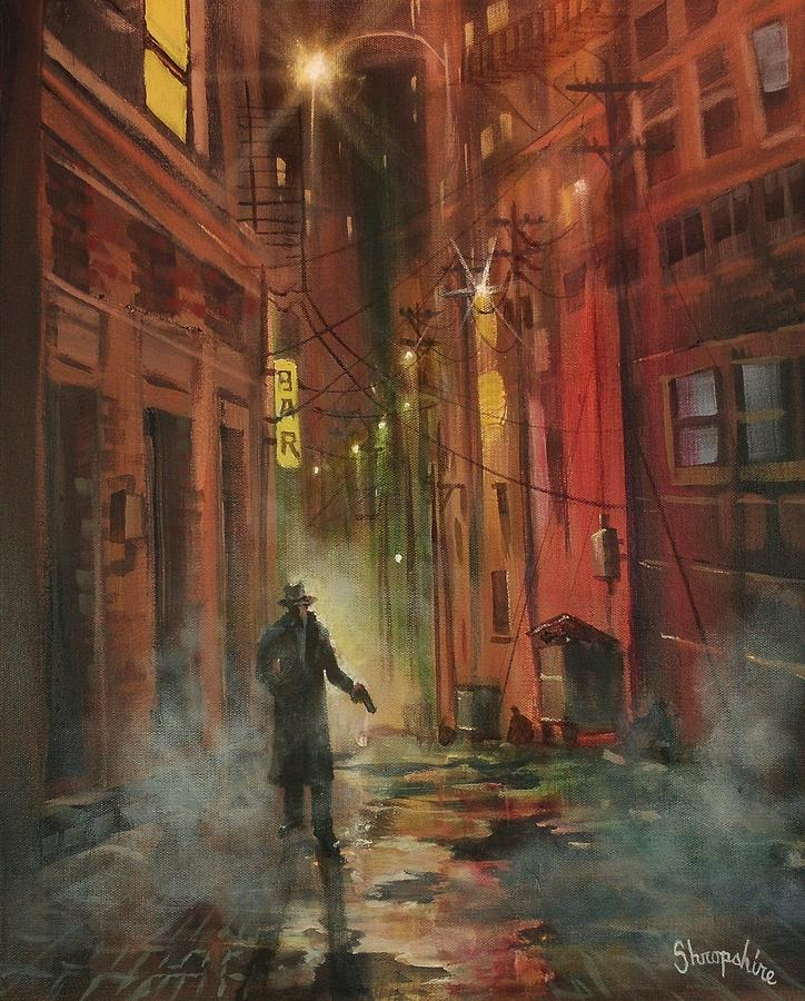 Art Noir Painting - Back Alley Justice by Tom Shropshire