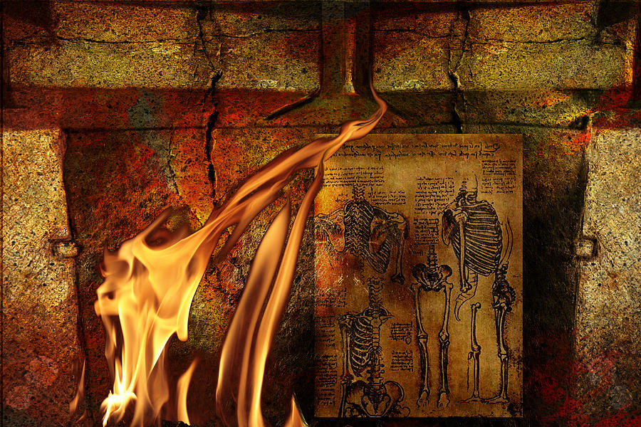 Surreal Mixed Media - Back Bone #3 by Janet Kearns