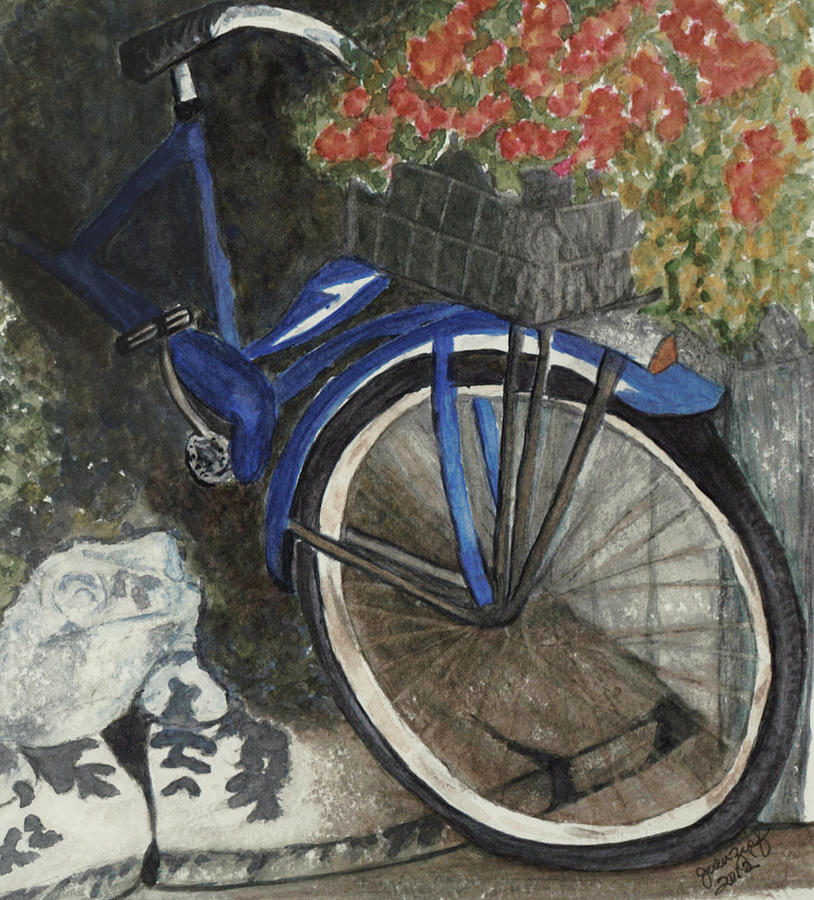 Bicycle Painting - Back Door At Brick Street Cafe by Joan Zepf