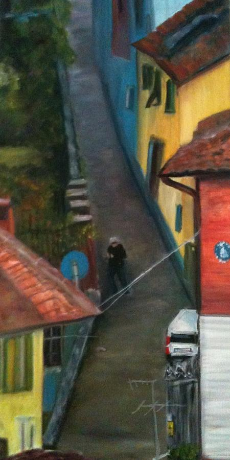 Narrow Street Painting - Back Street  by Betty Pimm