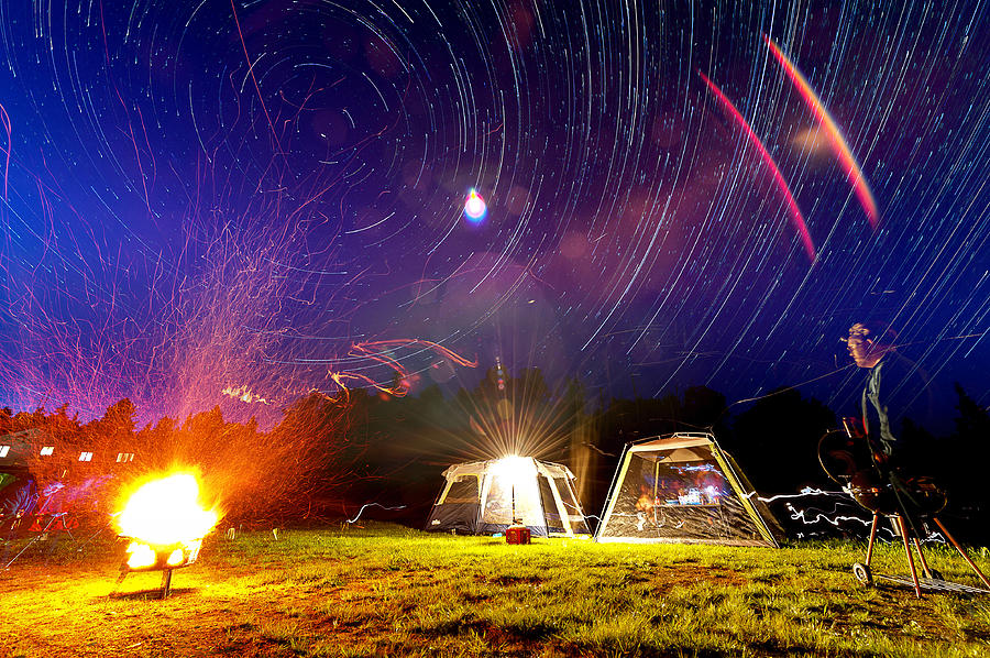 Fire Photograph - Back Yard Camping by Aaron Priest