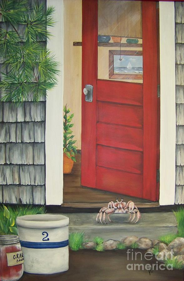 Crab Painting - Backdoor Visitors Three  by Lin Ruch
