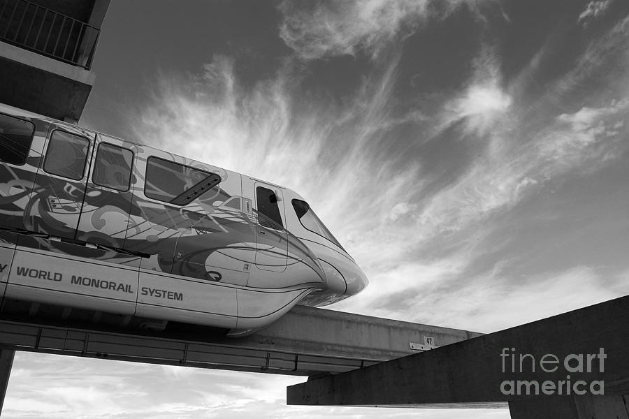 Monorail photograph backlit disney world monorail leaving contemporary resort walt disney world prints black and
