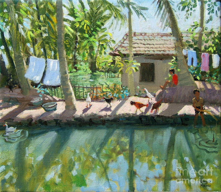 River Painting - Backwaters India  by Andrew Macara