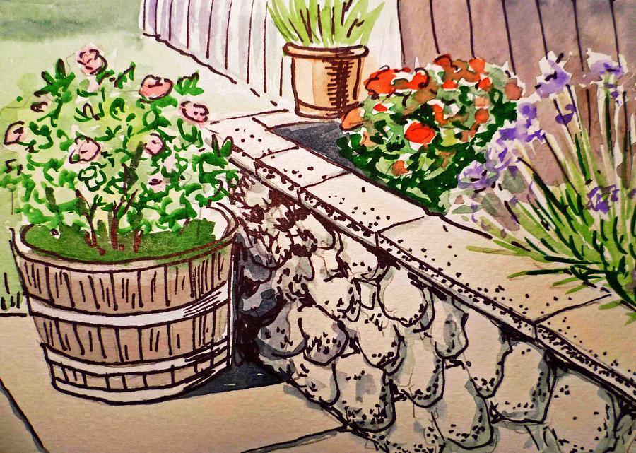 Flower Pot Painting - Backyard Sketchbook Project Down My Street by Irina Sztukowski
