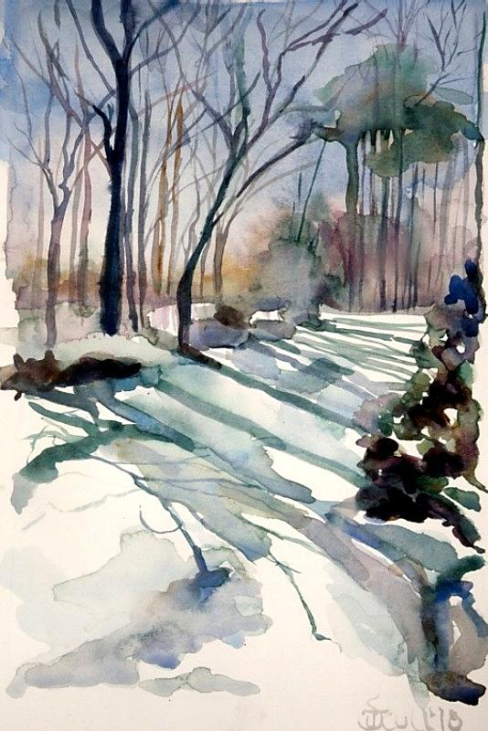 Snow Scene Painting - Backyard Snow by Judith Scull