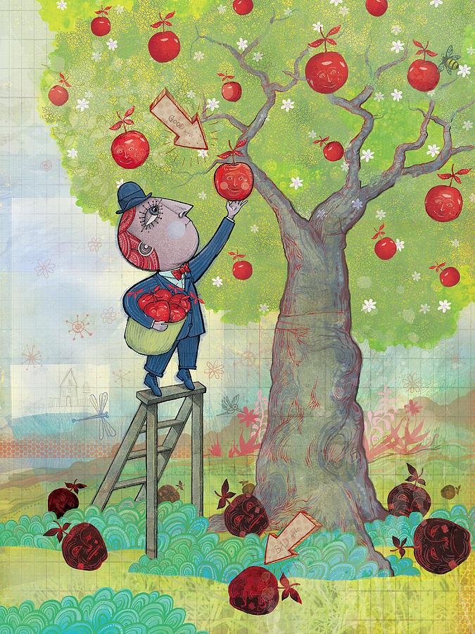 Apples Digital Art - Bad Apples Good Apples by Dennis Wunsch
