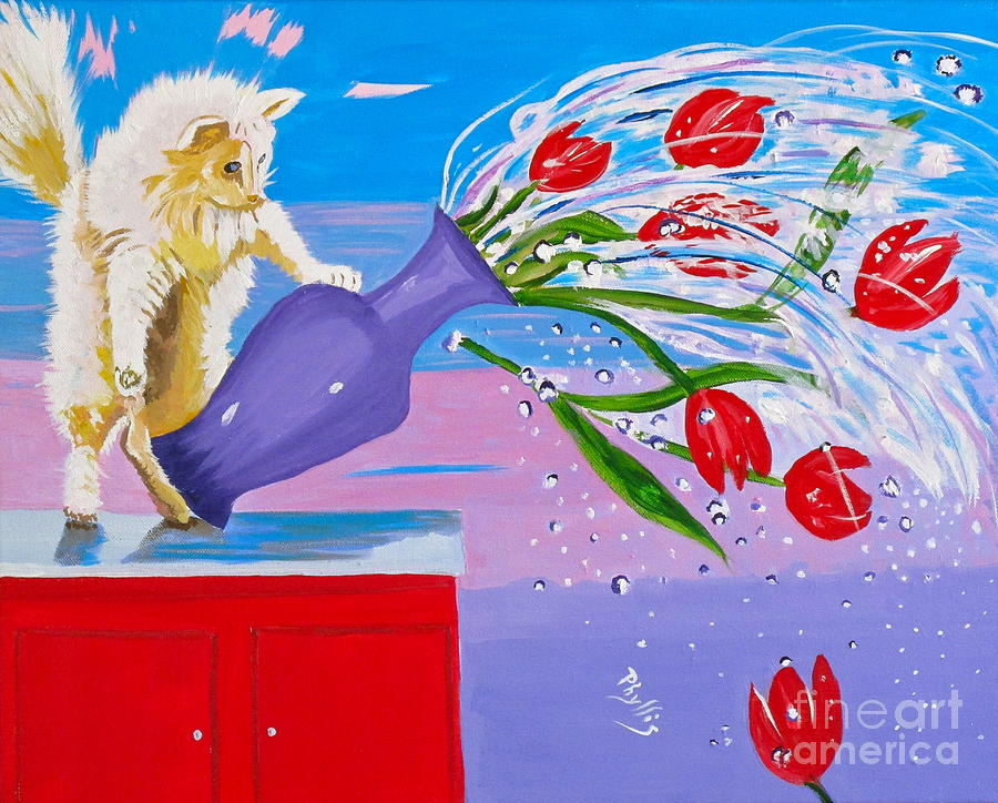 Red Flowers Painting - Bad Kitty by Phyllis Kaltenbach