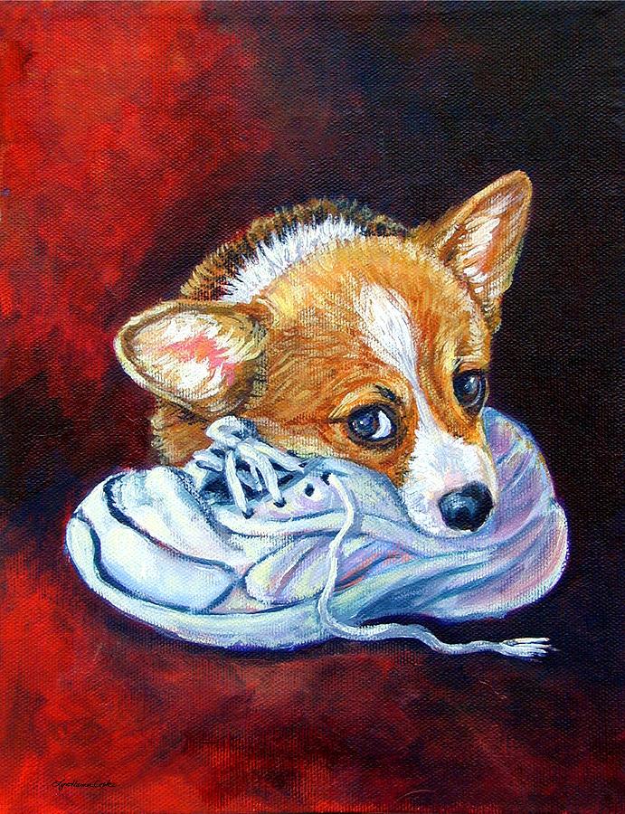 Pembroke Welsh Corgi Painting - Bad Puppy - Pembroke Welsh Corgi by Lyn Cook