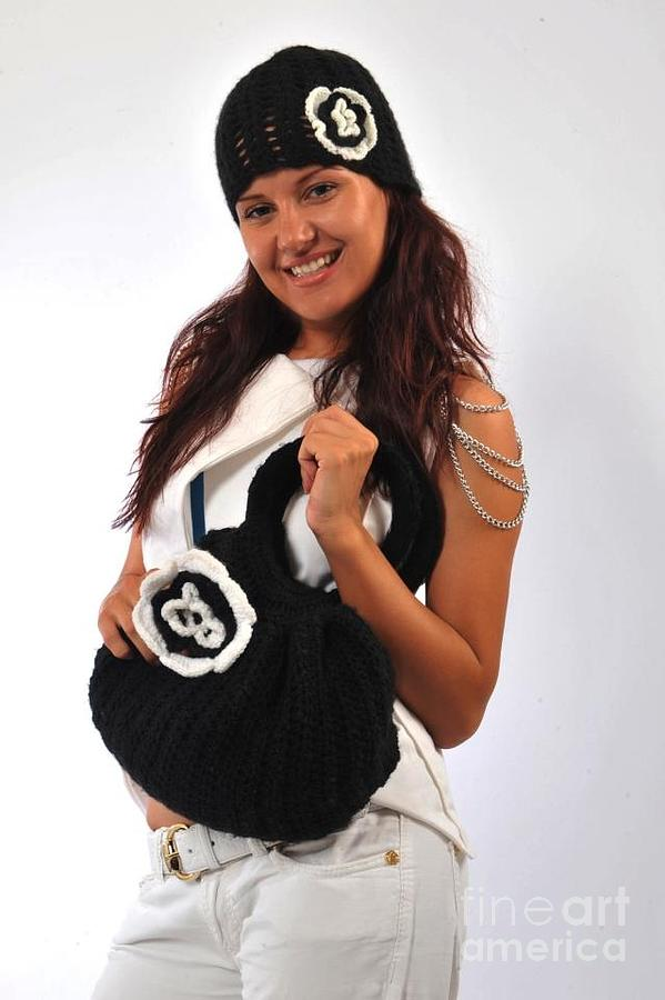 Croshet Tapestry - Textile - Bag And A Hat In Black And White by Monika Milenova
