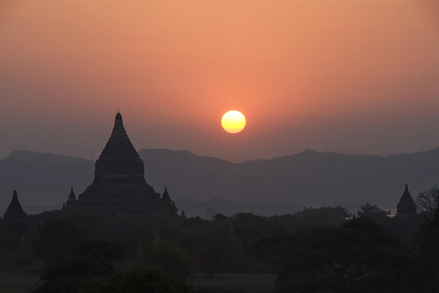 Ancient Photograph - Bagan Temples At Sunset II by Gloria & Richard Maschmeyer