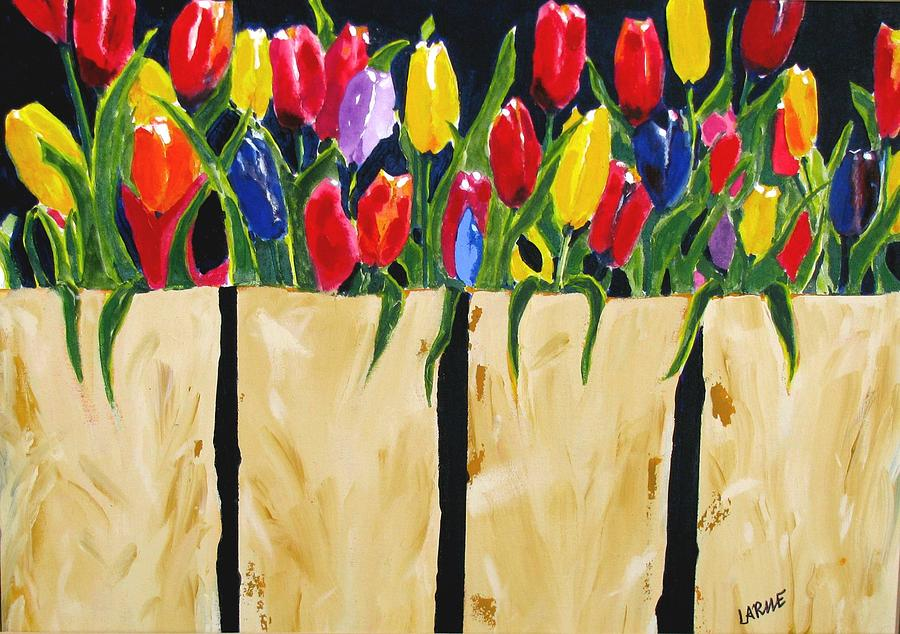 Tulips Mixed Media - Bagged Tulips by Ron LaRue