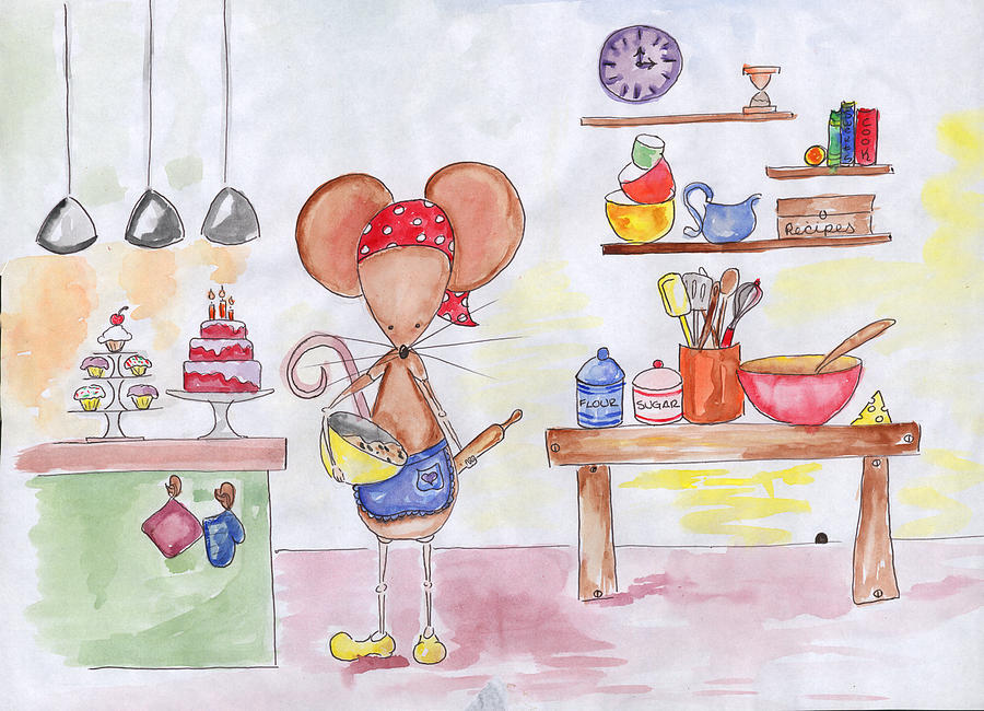 Mouse Painting - Bakery Mouse by Sarah LoCascio