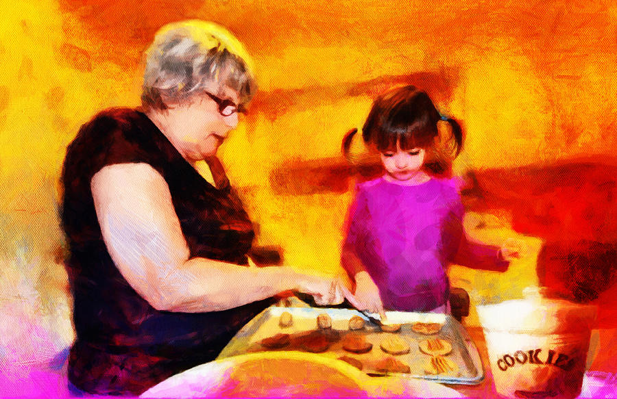 Cookies Mixed Media - Baking Cookies With Grandma by Nikki Marie Smith