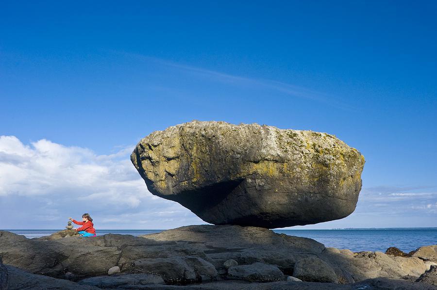 Human Photograph - Balance Rock, British Columbia by David Nunuk