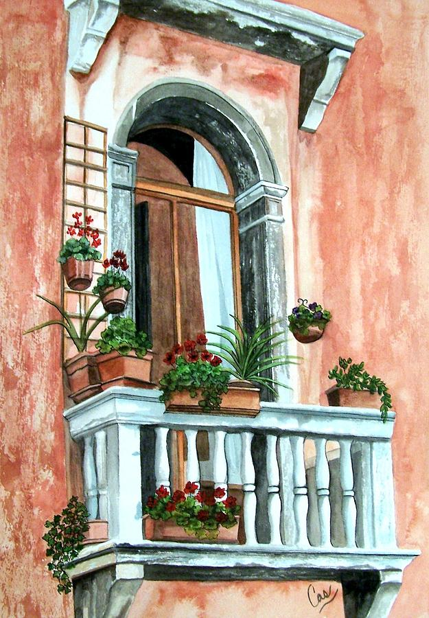 Architecture Painting - Balcony In Venice by Karen Casciani