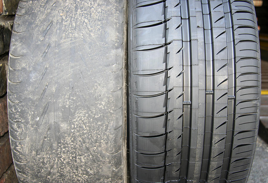 Tyre Photograph - Bald And New Tyre by Cordelia Molloy