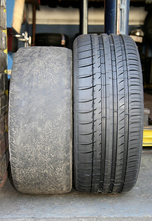 Tyre Photograph - Bald And New Tyres by Cordelia Molloy
