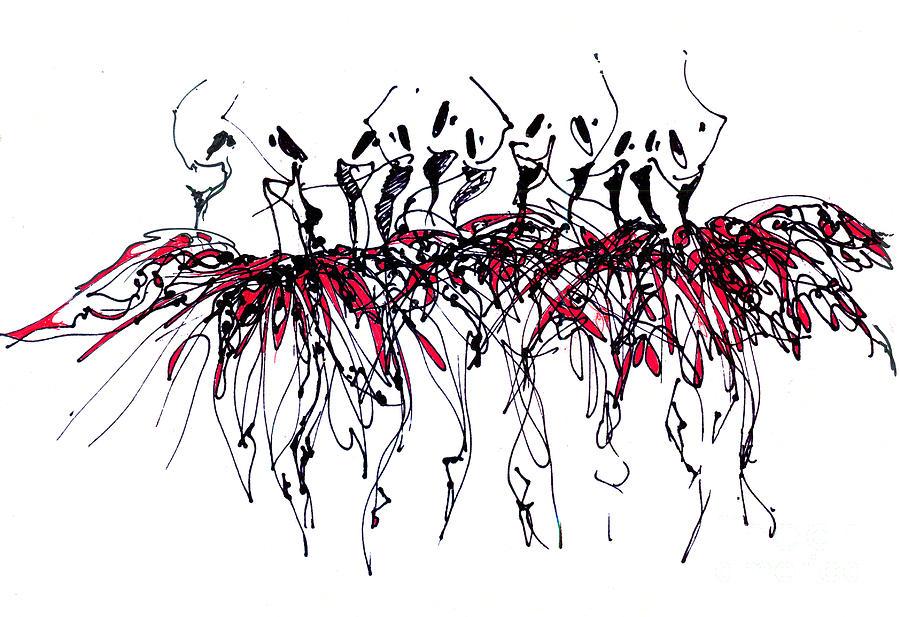 Dance Drawing - Ballet Ballet Ballet Or Dancers In Red Tutus by Lousine Hogtanian