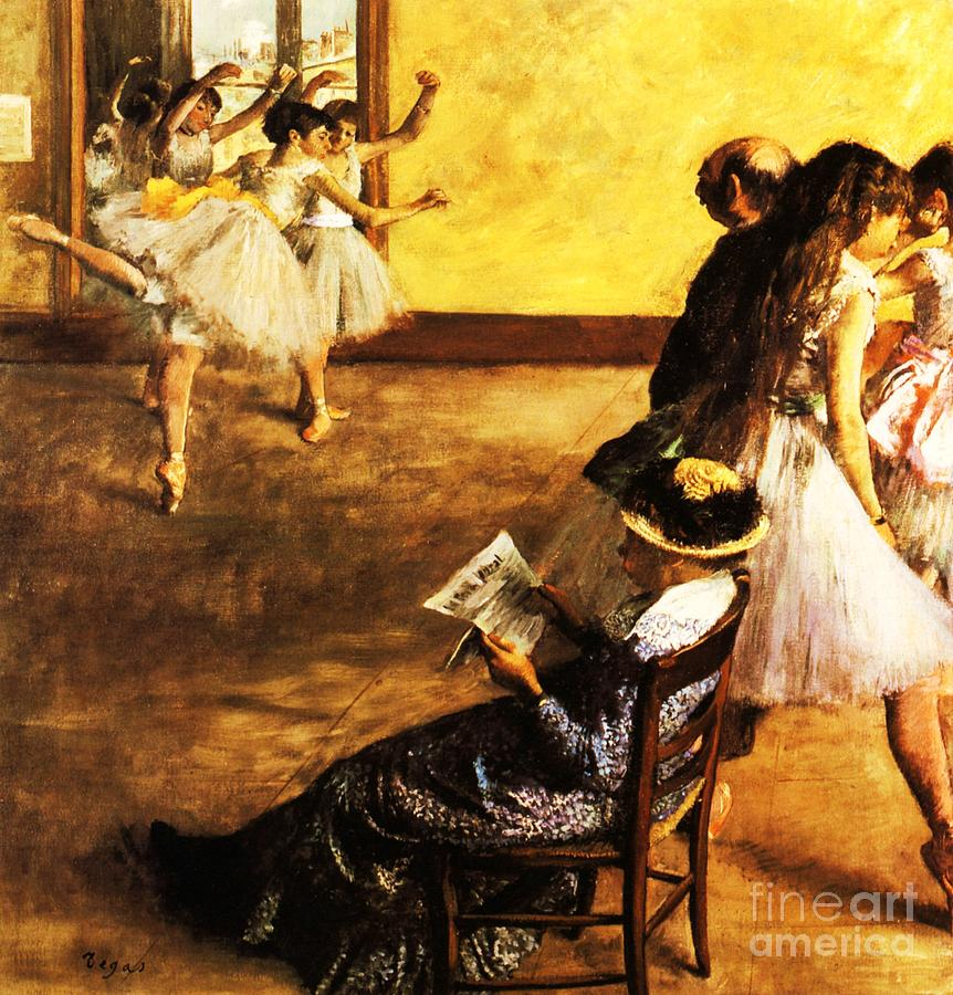 Pd Painting - Ballet Class  The Dance Hall by Pg Reproductions