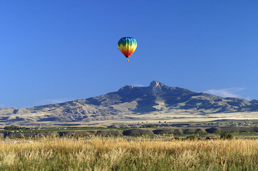 Balloon Photograph - Balloon Over Heart Mountain by Lora Ballweber