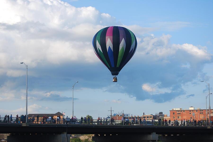 Hot Air Balloon Photograph - Balloon Over The Bridge by Alan Holbrook