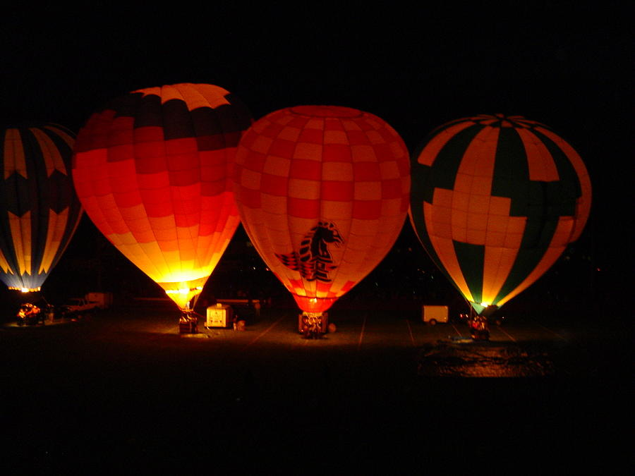 Hot Photograph - Balloons At Night by Michael Merry