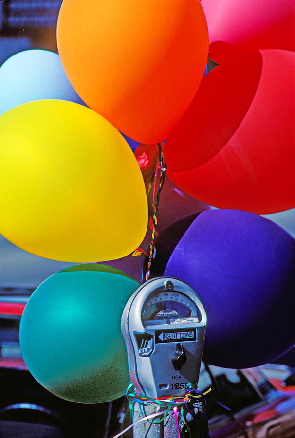 Balloons Photograph - Balloons Tied To Parking Meter by Garry Gay