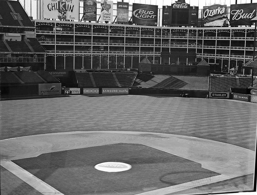America Photograph - Ballpark Black White by Malania Hammer