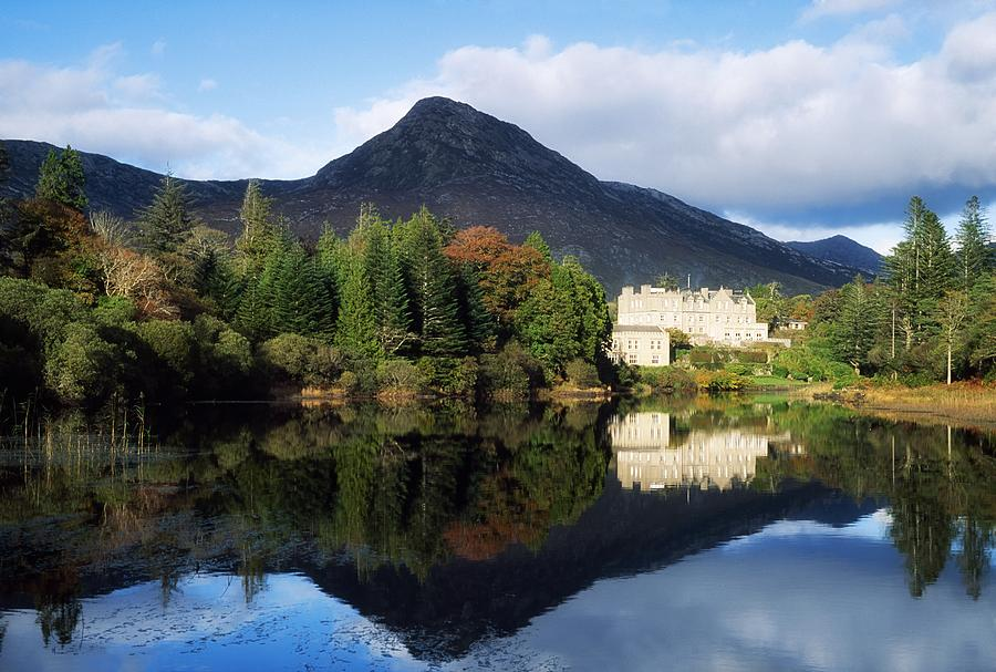 Autumn Photograph - Ballynahinch Castle Hotel, Twelve Bens by The Irish Image Collection