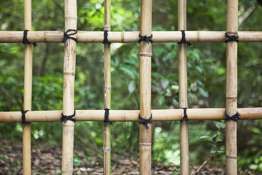 No People Photograph - Bamboo Fence Detail Meiji Jingu Shrine by Bryan Mullennix