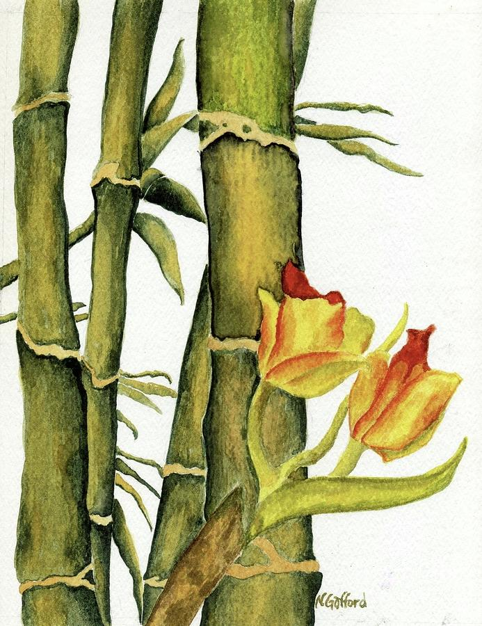 Watercolor Painting - Bamboo Paradise by Norma Gafford