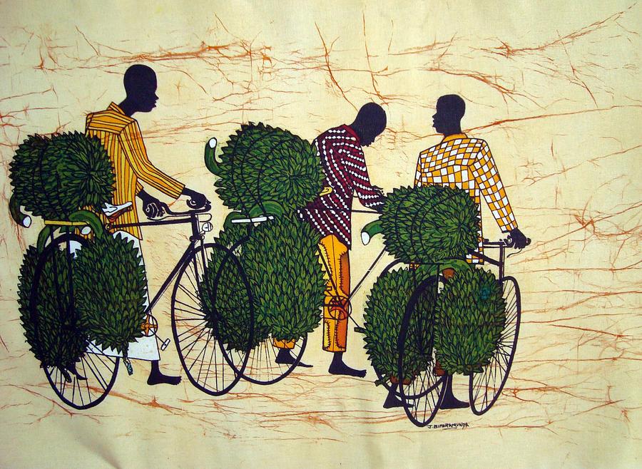 Cyclists Tapestry - Textile - Banana Cyclists by Joseph Kalinda