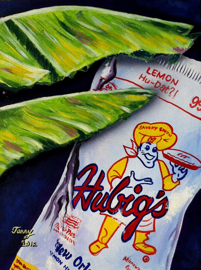 Hubigs Pie Painting - Banana Leaf Series-hubigs Pie by Terry J Marks Sr