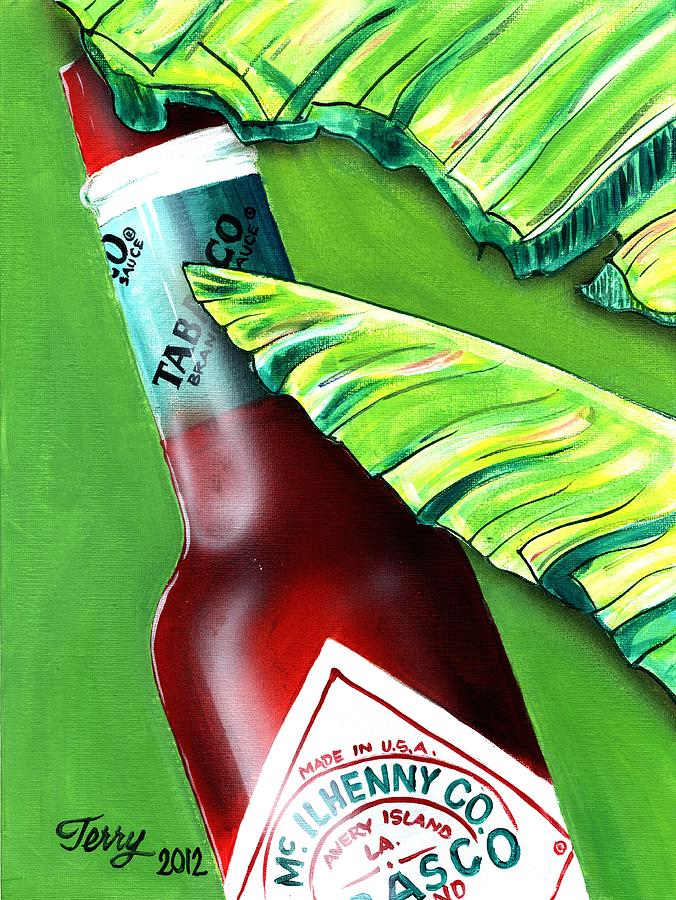 New Orleans Painting - Banana Leaf Series - Tabasco Bottle by Terry J Marks Sr