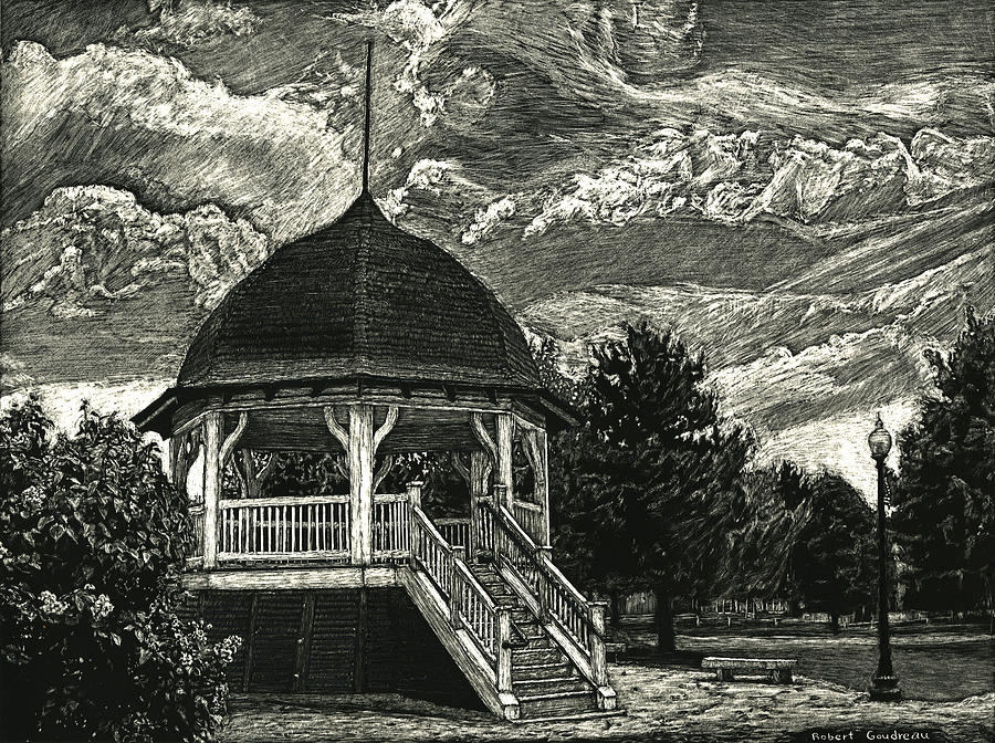 Landscape Drawing - Bandstand on the Commons by Robert Goudreau
