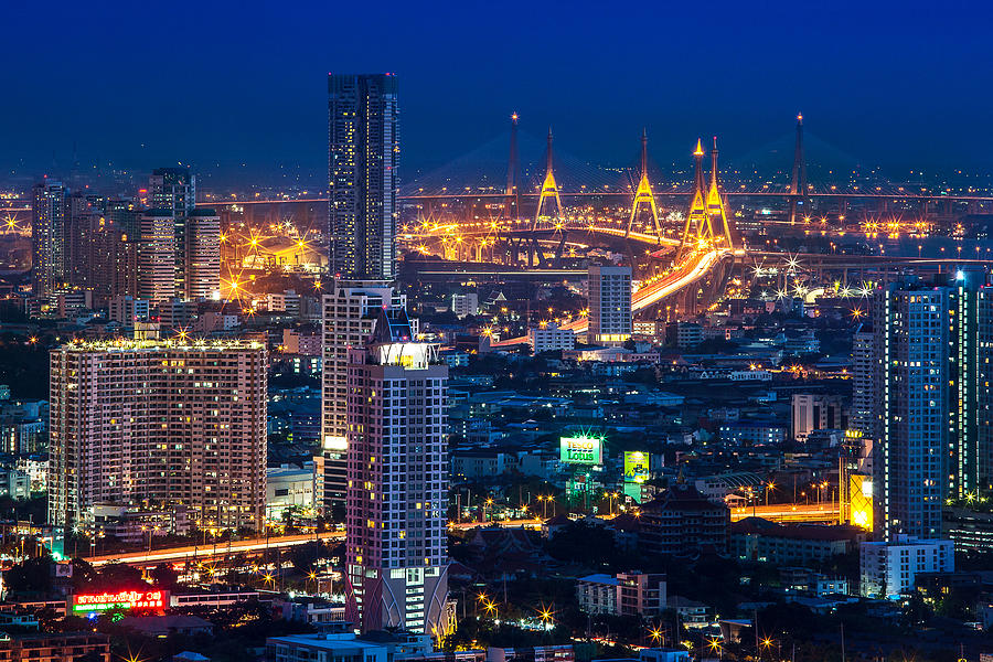 Bangkok Photograph - Bangkok Capital City Of Thailand Nightscape by Arthit Somsakul