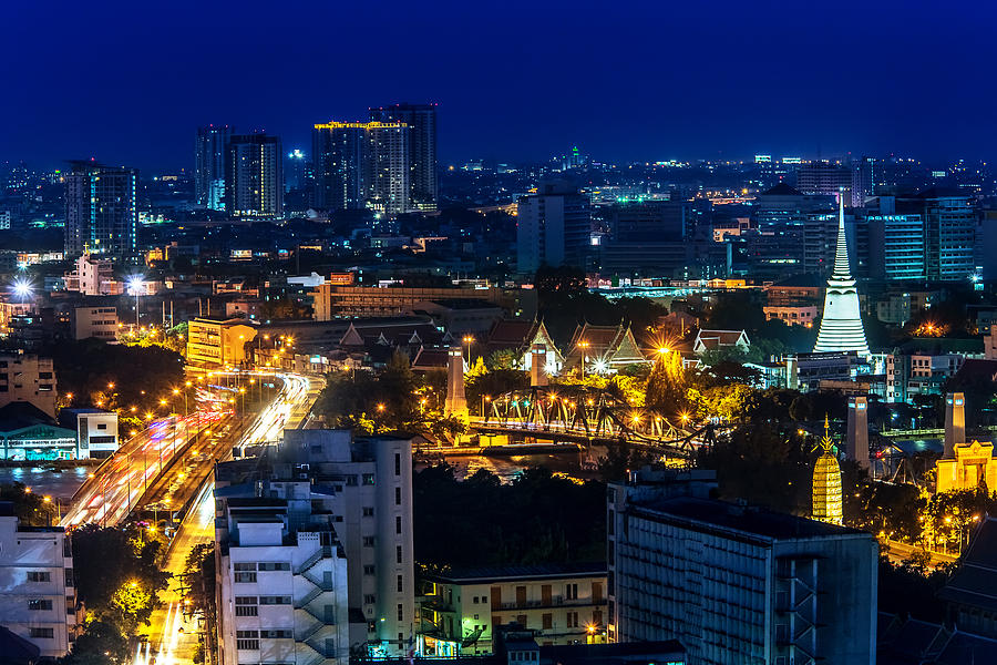 Bangkok Photograph - Bangkok Nightscape by Arthit Somsakul