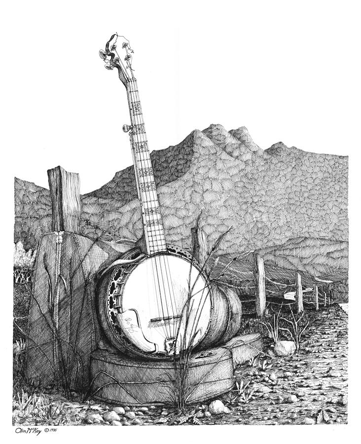 Pen And Ink Drawing - Banjo 2 by Olin  McKay