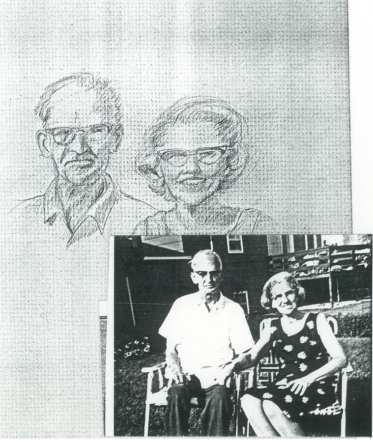 Graphite Drawing - Bank Gal Parents Portrait by Valerie VanOrden