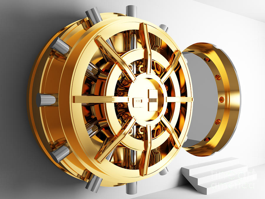 Safe Photograph - Bank Vault Door 3d by Gualtiero Boffi