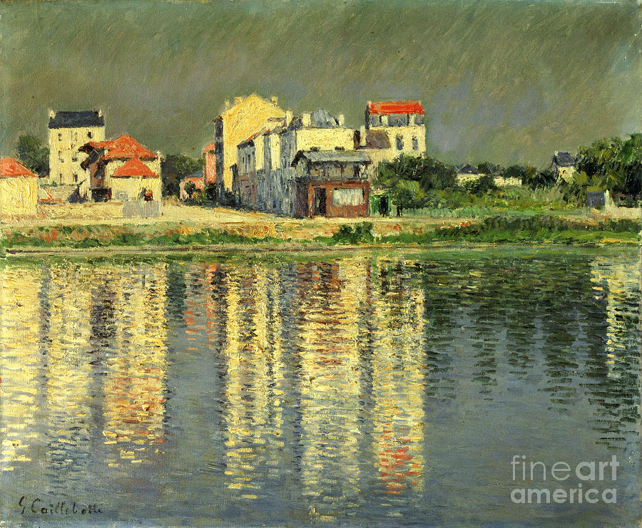 France Painting - Banks Of The Seine At Argenteuil by Gustave Caillebotte
